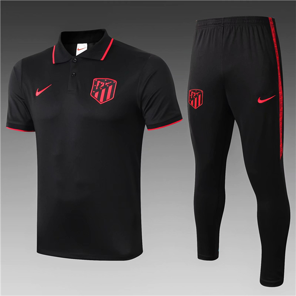 Maillot de foot polo noir Atletico Madrid 2020