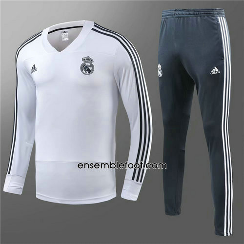 ensemble survêtement foot homme blanc real madrid 2018-2019