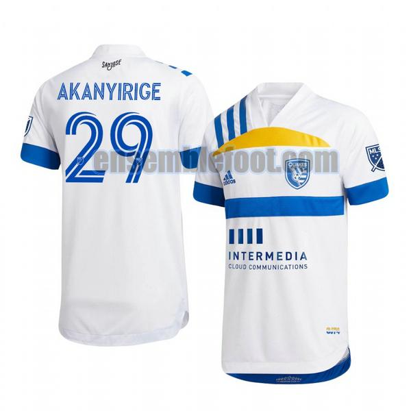 maillots san jose earthquakes 2020-2021 exterieur jacob akanyirige 29