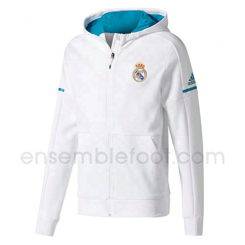 veste de foot homme blanc real madrid 2017-2018